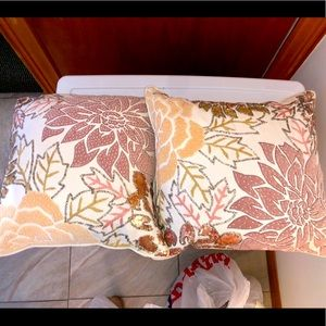 Two Decorative Pillows with Beaded Embroidery
